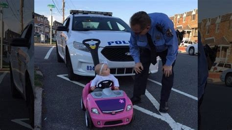 cops pull   month  girl driving toy car  edition
