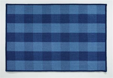 dark blue plaid jute rug