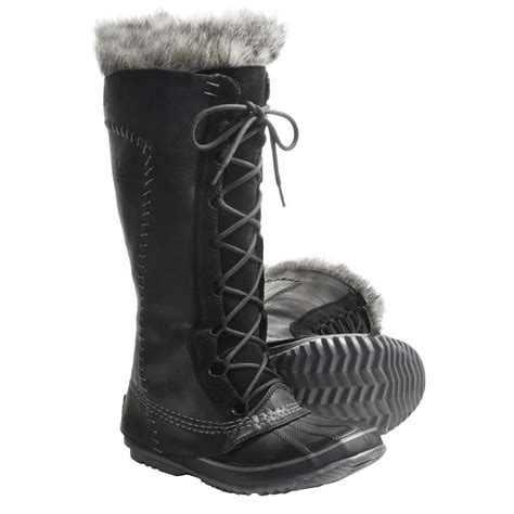 sorel cate the great black fur lined lace up knee high
