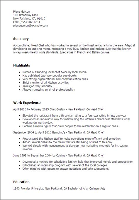 resume sle for chef 28 images chef resume sle exles