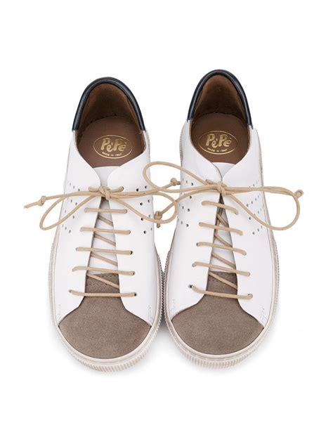 Panel Lace Up Shoes pepe colour panel lace up sneakers in white lyst