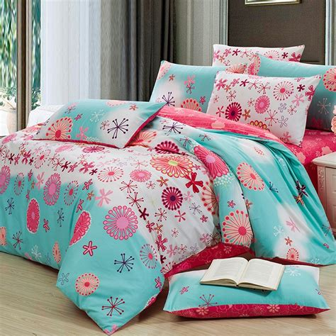 aqua and coral bedding aqua blue and coral red fashion abstract cute flower print