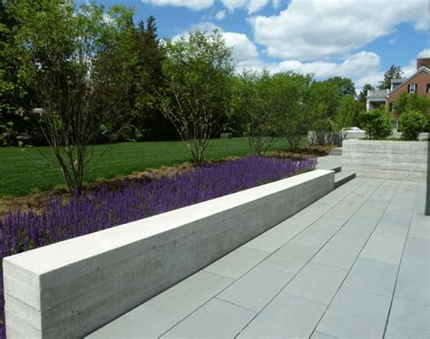 Concrete Garden Wall Modern Concrete Low Retaining Wall Bench Against