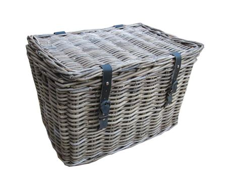 Wicker Laundry Hers With Lids Grey Buff Rattan Wicker Chest Trunk Storage Basket Large Small Laundry Lid Small Laundry