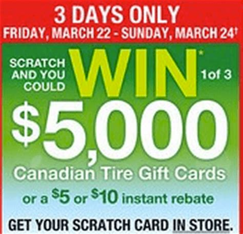 Scratch And Win Gift Cards - canadian tire gift cards scratch win 1of 3 5 000 gift cards or a 5 or 10 instant