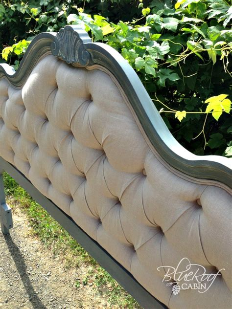 diy button tufted headboard blue roof cabin diy diamond tufted head board