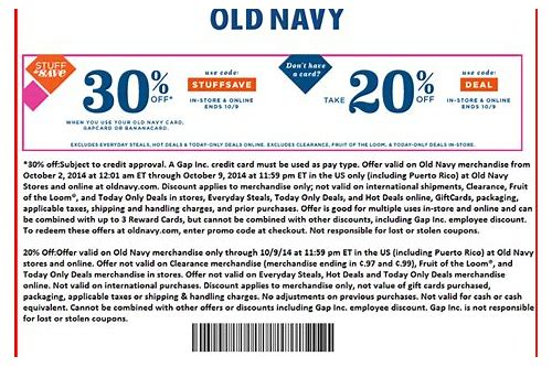free printable coupon for old navy