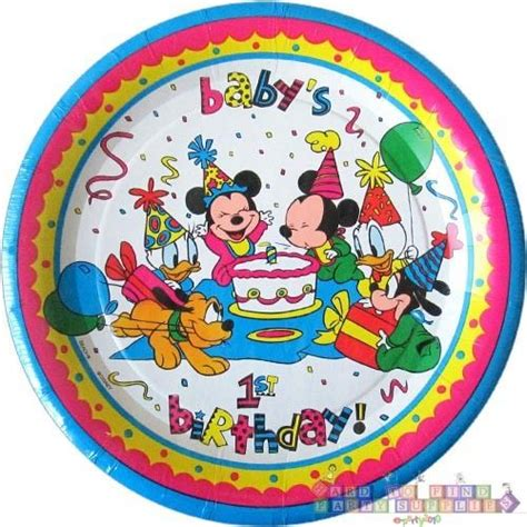 Paper Plates 7 Mickey Isi 8 disney babies mickey and minnie small paper plates 8 1st birthday supplies ebay