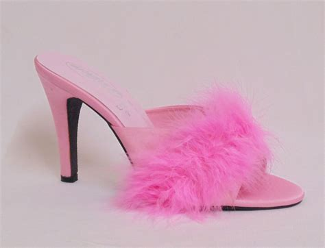 high slippers pink 4 5 quot high heel satin fluffy feather slippers court