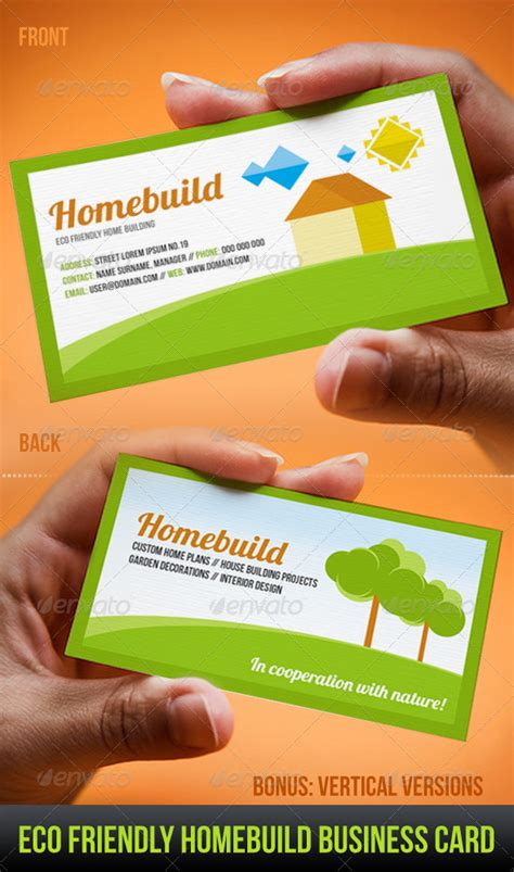 eco business card templates eco friendly homebuild business card industry specific