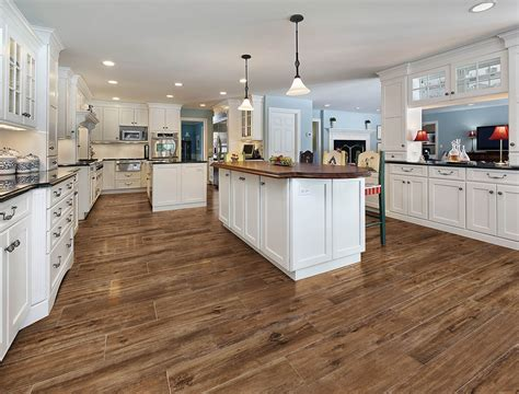 wood and tile floors Kitchen Traditional with floor