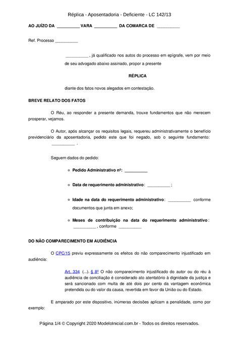 Modelo Réplica - Aposentadoria - Deficiente - LC 142/13