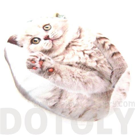 Fluffy Coin Purse Bags white fluffy cat kitten shaped fabric zipper coin