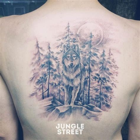 wolf back tattoo wolf forest back junglestreet jungle