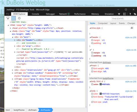 edge 10 developer tools windows windows 10 first look mark dubois weblog