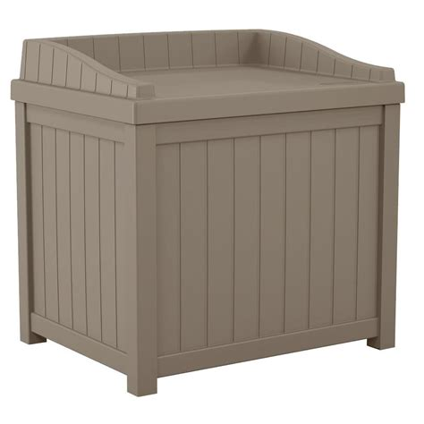 suncast 22 gal taupe small storage seat deck box