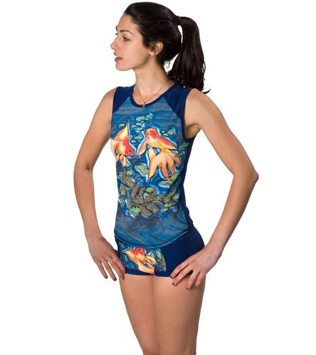 girls4sport s pisces sleeveless rashguard with shelf