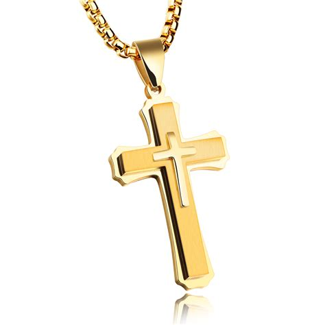 Kalung Stanless Steel Cross For stainless steel mens gold cross necklace jc fashion jewelry