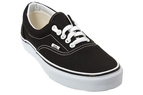 vans era mens womens black canvas low top trainers shoes