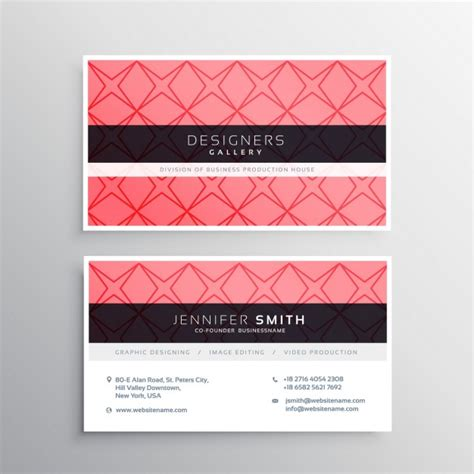 pink business card template pink business card template with shapes vector free