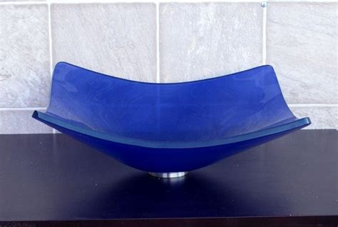 Cobalt Blue Kitchen Sink Bathroom Square Frosted Cobalt Blue Glass Vessel Sink A