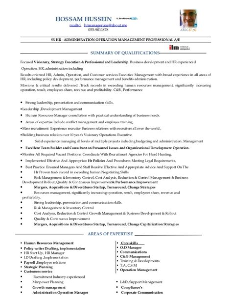 sle resume for human resource executive 15992 hr manager resume senior hr manager resume sle