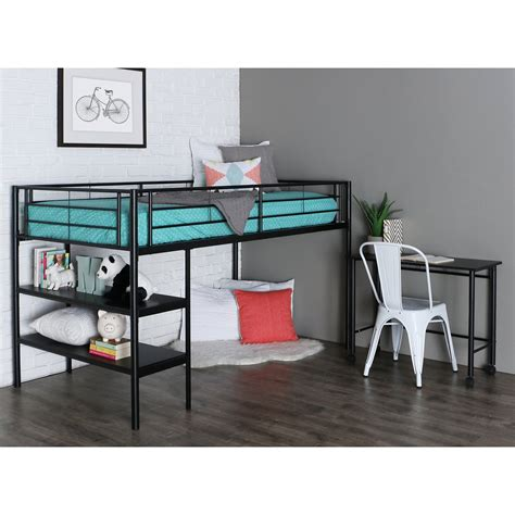 loft bunk bed with desk black twin loft bed with desk and shelves bunk beds