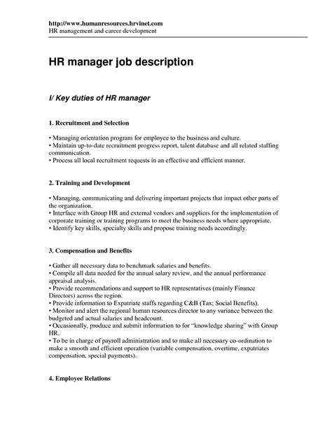 human resources officer description resume 28 images