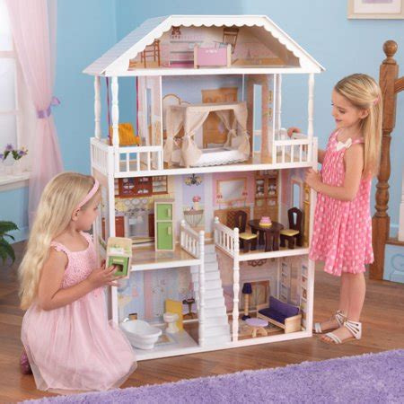walmart doll houses kidkraft savannah wooden dollhouse with 13 pieces of furniture