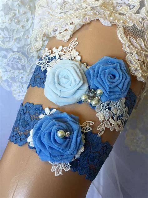 Set Garter something blue garter set garter wedding garter wedding