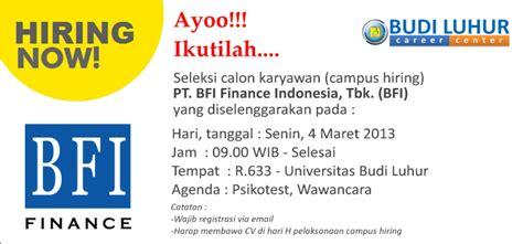 cus hiring pt bfi finance indonesia tbk bfi budi luhur