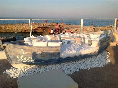 boat sofas repurposed old vintage boat into seating sofa setting
