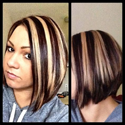 short brown hair with chunky blond chunky highlight lowlight hot short hair