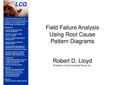 pattern failure analysis field failure analysis using root cause pattern diagrams