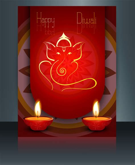free diwali cards templates vector beautiful diwali celebration brochure card template
