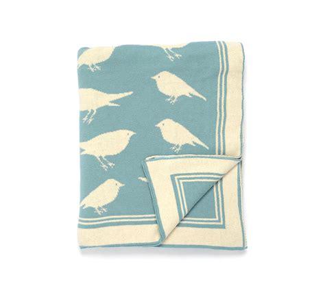 darzzi blue natural bird throw blanket 50x60