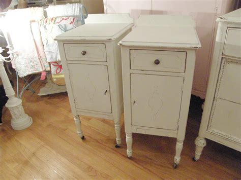 shabby chic white nightstand pair by vintagechicfurniture