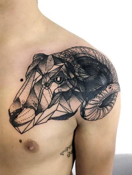 ram tattoo meaning black geometric ram idea