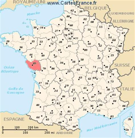 VENDEE : Carte, plan departement de la Vendée 85