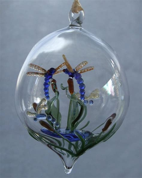 ornaments glass blown crafted dragonflies on cattails blown glass