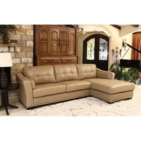 abbyson living leather sectional abbyson living margot leather sectional in beige sk 2313 crm