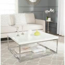 White Contemporary Coffee Table Safavieh Modern Glam Malone White Chrome Coffee Table By