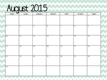 Free Teacher Calendar Template 2016