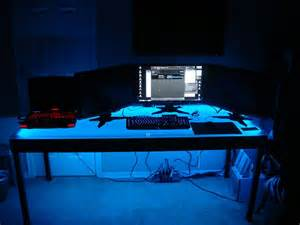 Laptop Desk With Led Light Computer Desk Led Lighting Using An Easy Installation Led Kit Http Www Barlighting 4
