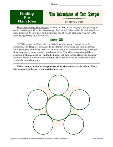 Worksheets Idea by Middle School Idea Worksheet About Tom Sawyer