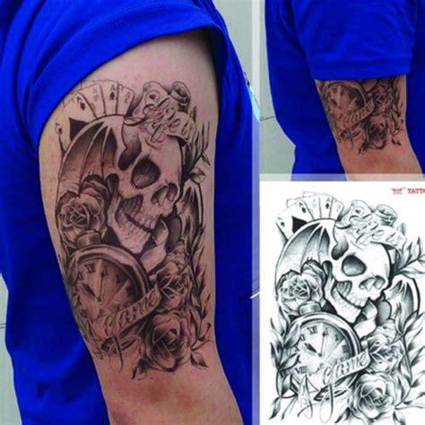sexy body tattoos temporary skull clock arm