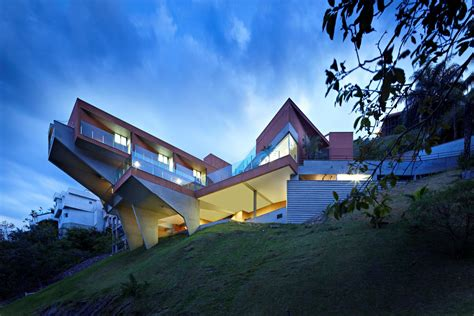 house on slope sculptural concrete house built on a steep slope modern