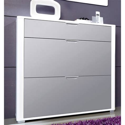 white gloss shoe storage momento shoe storage cabinet in white and grey gloss front
