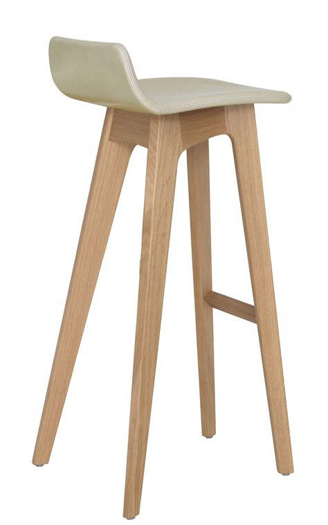 morph bar stool leather seat   cm natural oak structure beige leather upholstered