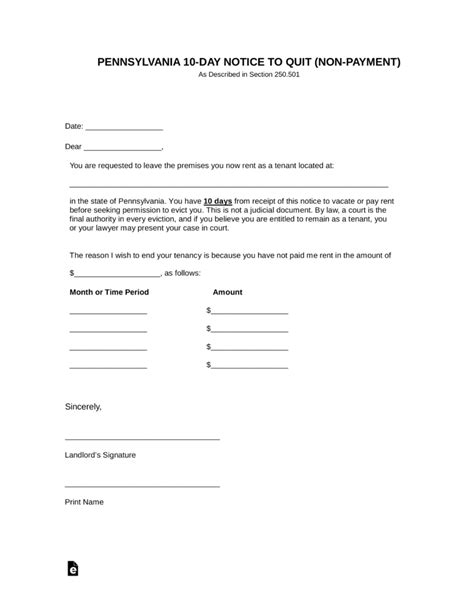 Free Pennsylvania 10 Day Notice To Quit Form Non Payment Word Pdf Eforms Free Fillable Eviction Notice Template Pennsylvania Free